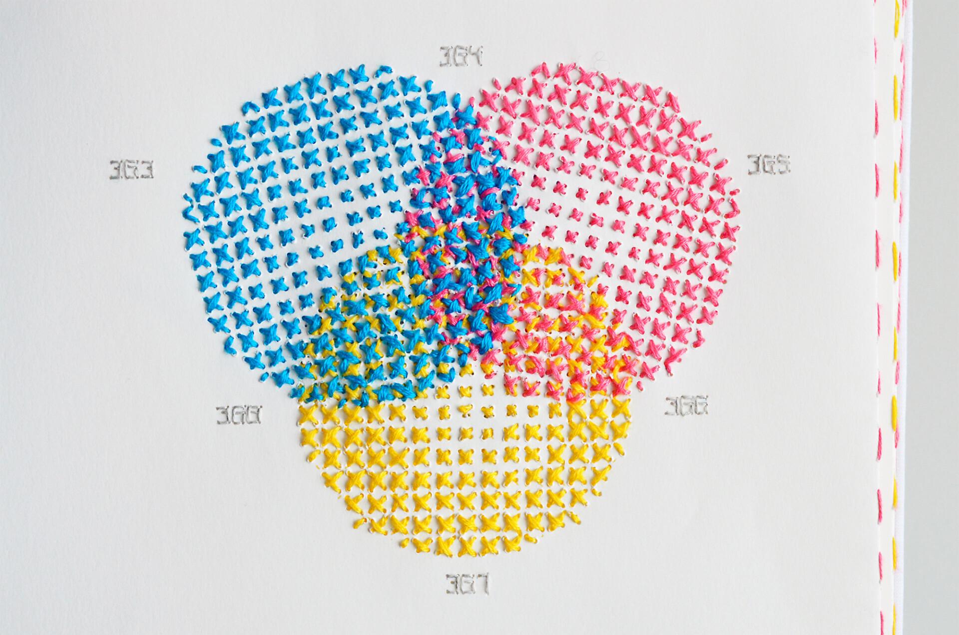 Échantillons de couleurs au point de croix.