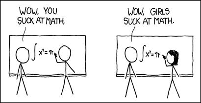 """À gauche&nbsp;: un homme se trompe dans une équation, «&nbsp;Woaw, tu es nul en maths&nbsp;». À droite, une femme se trompe dans la même équation&nbsp;: «&nbsp;Woaw, les femmes sont nulles en maths&nbsp;» Source&nbsp;: le formidable <a href=""""https://xkcd.com/385/"""">XKCD</a>"""