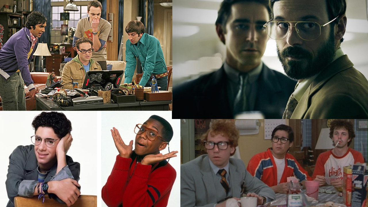 Exemples de personnages de fiction considérés comme « geeks » : Leonard, Sheldon, Raj et Howard de The Big Band Theory ; Joe MacMillian et Gordon Clark de Halt and Catch Fire ; Jerry Steiner de Parker Lewis ne perd jamais ; Steve Urkel de La Vie de famille ; trois personnages de Revenge of the nerds